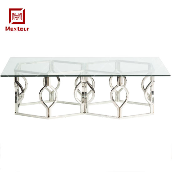 Stainless Steel Furniture for Living Room Glass Coffee Side Table for Afternoon Tea