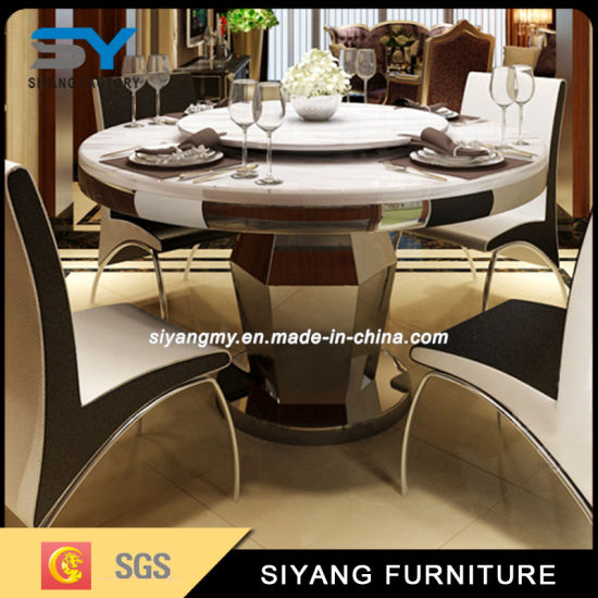 China Black Gl Round Dining Table With Rotating Centre