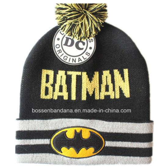 Factory Produce Customized Design Cartoon Black Jacquard Knit Winter Ski Beanie Hat