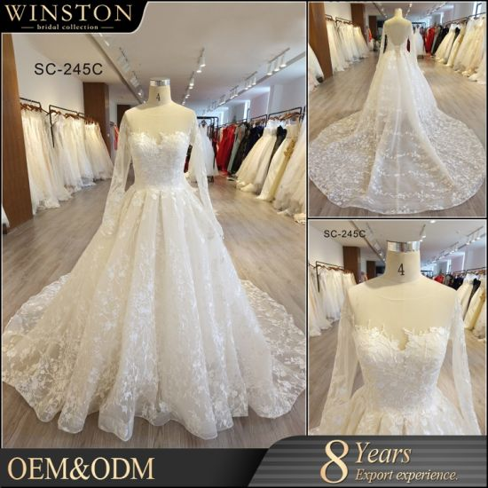 China Factory Real Sample Pictures Wedding Dress Bridal Gown Long ...