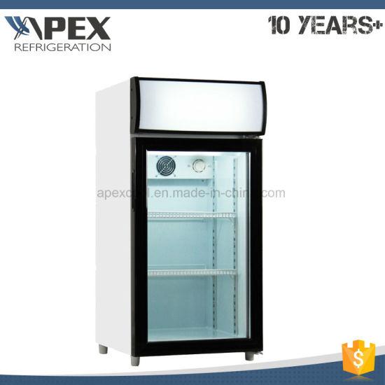 China Hot Sale Glass Door Countertop Drinks Cooler With Digital