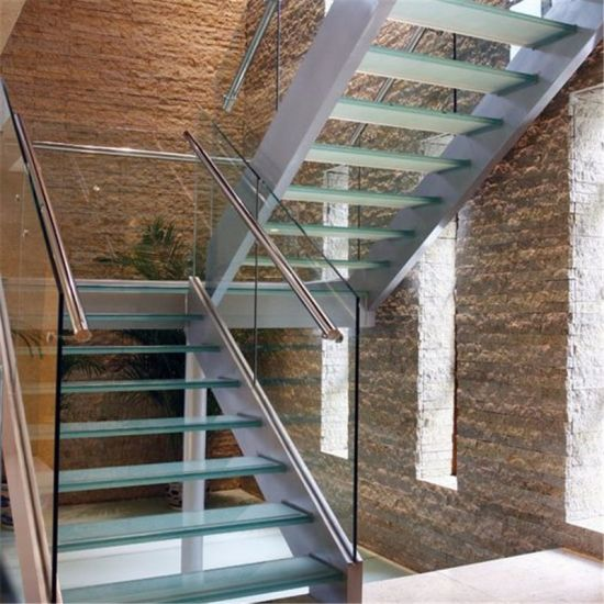 China Modern Interior Glass Staircase Straight Mild Steel Glass