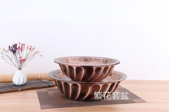 Stainless Steel Kitchenware Decorative Pattern Round Tray / Dinner Plate Gp001
