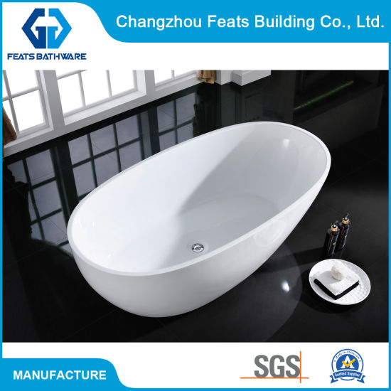 Hot White/Black Painting Unique Oval Acrylic Freestanding Bathtub #S018 pictures & photos