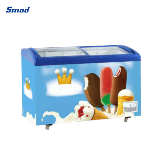 268L Commercial Shop Use Glass Doors Ice Cream Showcase Freezer