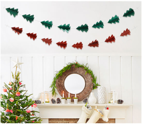 ... 10 Three-Dimensional Glitter Paper Flower Christmas Tree Strings Hanging Decorations Christmas Decorations Party Wall ...