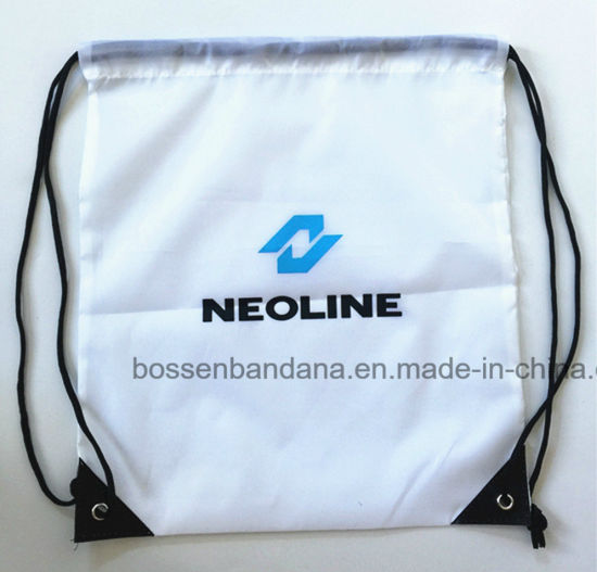 f478d7f51806 OEM Customized Logo Printed White Polyester Nylon Drawstring Gym Backpack  Bag Manufacturer