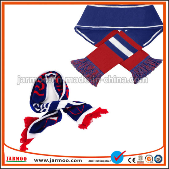 Good Quality Low MOQ Request Under Customized Design Knitted Embroidery Sports Football Fan Acrylic Scarf