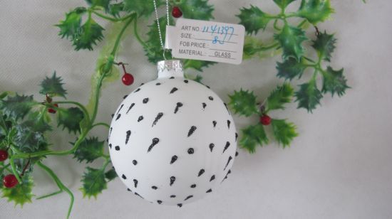 2021 White Color Hand Painting Christmas Glass Ball