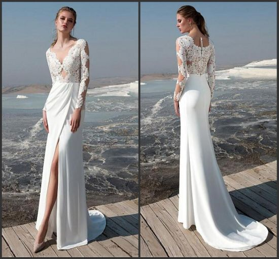 254dd2312f2 Long Sleeves Bridal Gowns V-Neck Lace Side Split Boho Beach Wedding Dress  W342 pictures