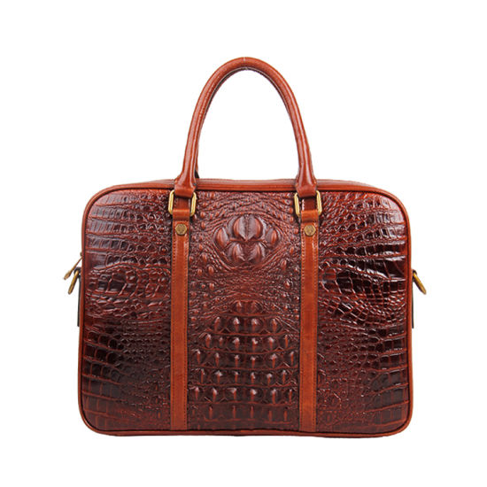 "Wholesale Price Luxury Brown Crocodile Grain Leather 13"" Laptop Designer Bag"
