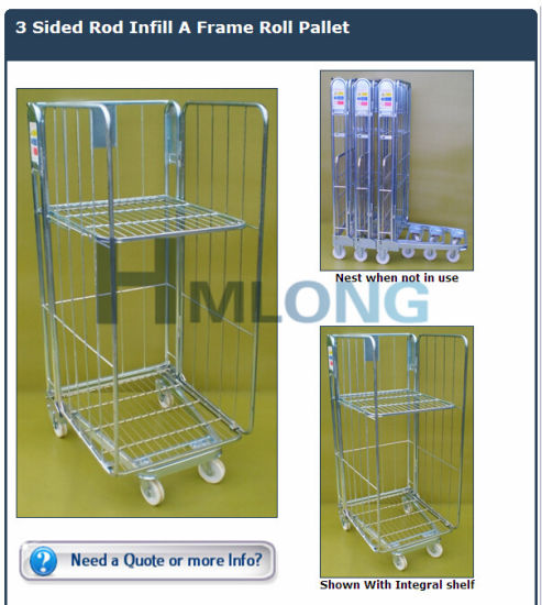 Folding Rolling Metal Storage Cage with Wheels pictures & photos