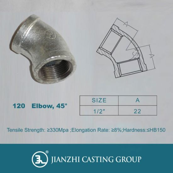 Banded Malleable Iron Galvanized Pipe Fittings of 45 Degree Elbows