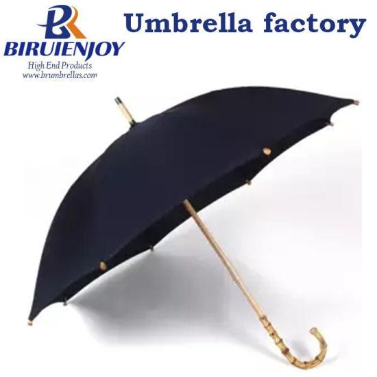 Hot Sale Bamboo Rattan Long Straight Umbrella Men Retro Curved Handle Large Rain Umbrella