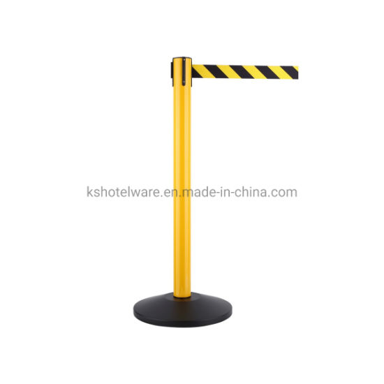 Yellow Pole with Base Retractable Belt Stanchion