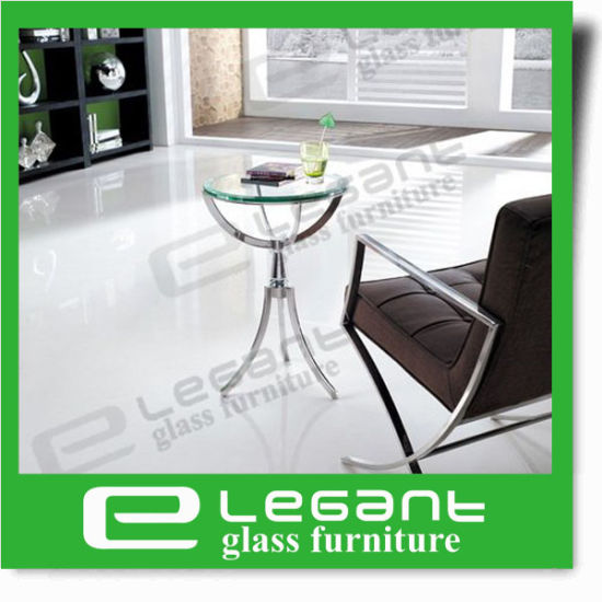Clear Tempered Glass Table with Polished Stainless Steel Base pictures & photos