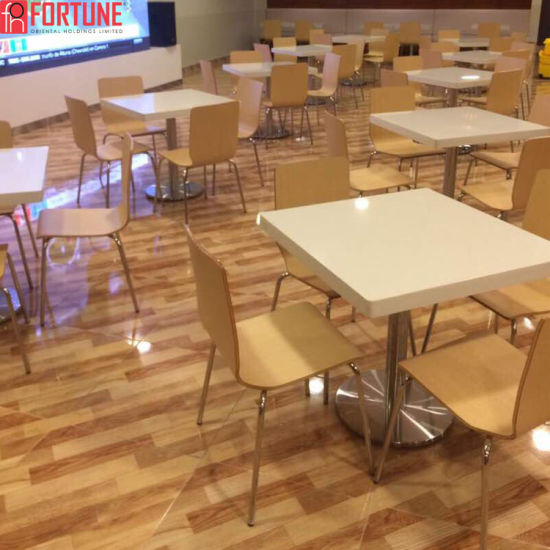 China Acrylic Solid Surface Restaurant Dining Table With Seating