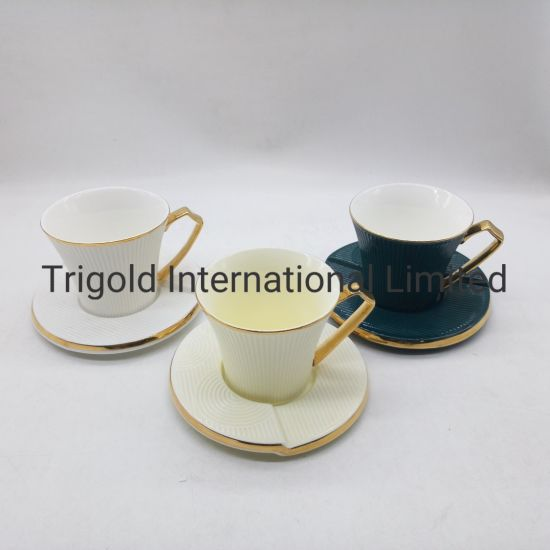Coffeezone Double Ceramic Espresso Coffee Cup and Saucer Free Pour Coffee or Small Cappuccino, New Bone China for Coffee Shop and Barista