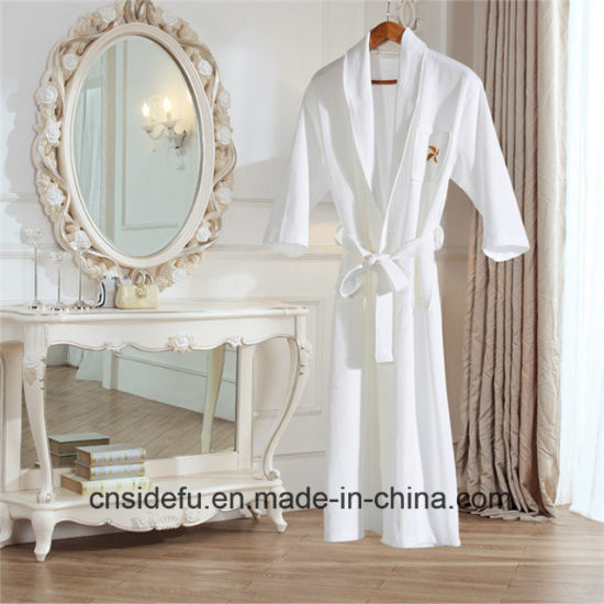Embroidered Logo 100 Cotton Luxury White Hotel Waffle Robe pictures   photos 9b4331d06