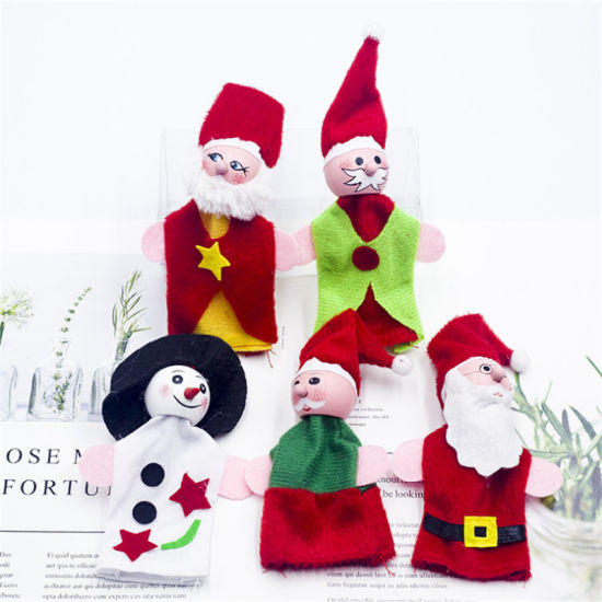 Hand Puppets Lovely Santa Finger Doll Puppets Mini Soft Stuffed Christmas Plush Baby Toy Gifts