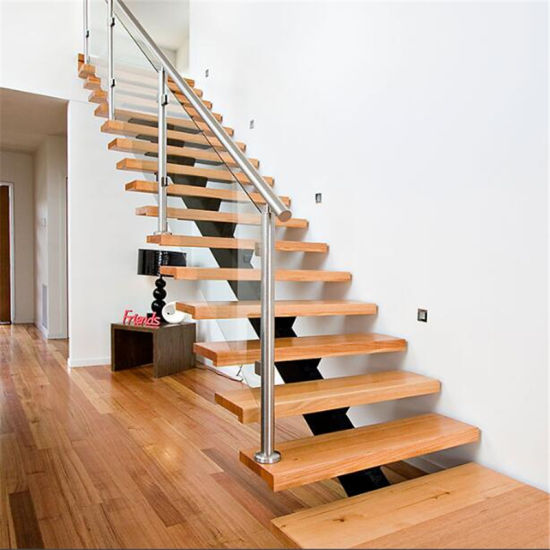 Prefab Steel Wood Straight Staircase With Gl Stair Railing Interior