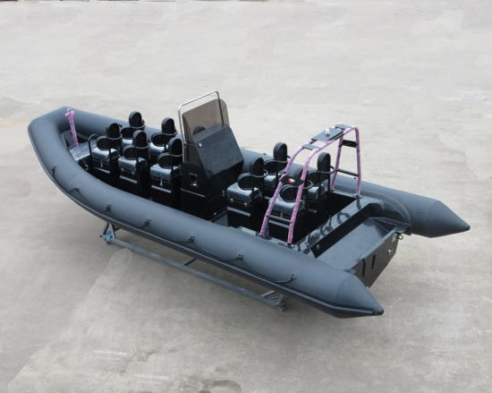 Aqualand 25feet 7.5m Rib Rescue Patrol/Dive/Fiberglass Rigid Inflatable Military Motor Boat (750A) pictures & photos