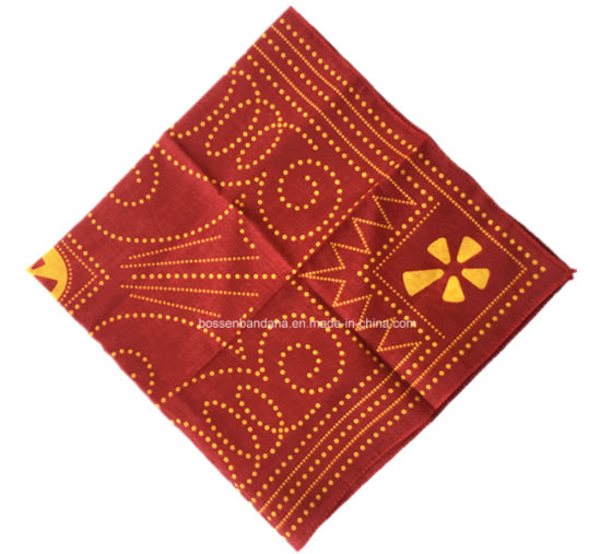 China Factory Produce Custom Design Print 56*56cm Red Cotton Bandanna pictures & photos