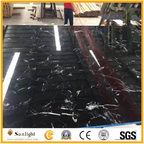 Polished Natural Black Ice Flower Marble, Black and White Marble Slabs