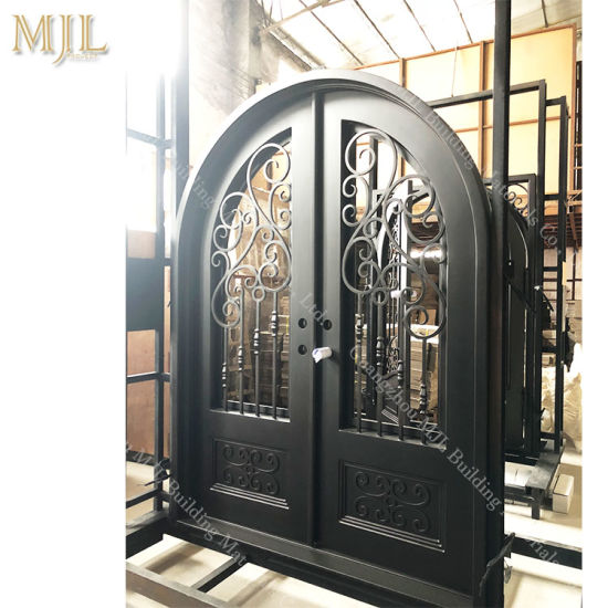 China Modern Simple Safety Front Main Entrance Wrought Iron Door