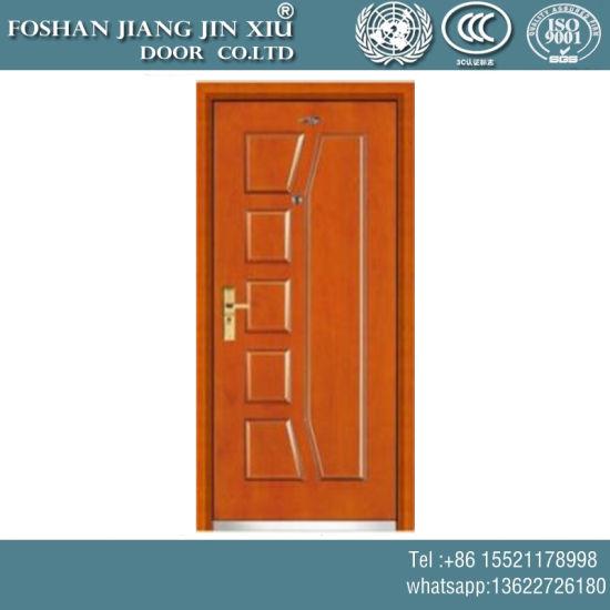 China Yellow Wooden Plastic Steel Composite Fireproof Exterior Door