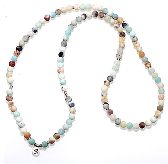 Natural Stone Bracelet 108 Mala Yoga Necklace Matte Amazonite Jewelry pictures & photos