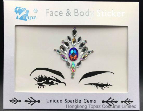 Factory price custom face gem stickers temporary tattoo rhinestone glitter sticker sr 50