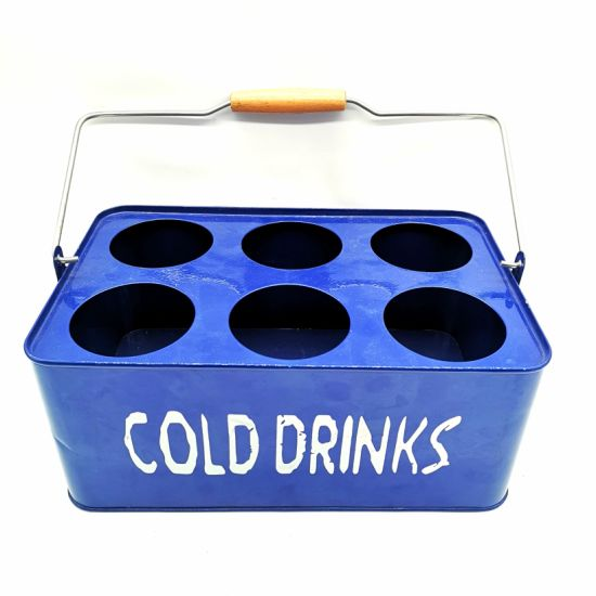 Metal Ice Bucket for Beer and Wine Bottles with Wooden Handle Galvanized Tin
