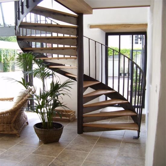 DIY Custom Spiral Staircase Metal Staircase With Curved Glass Railing