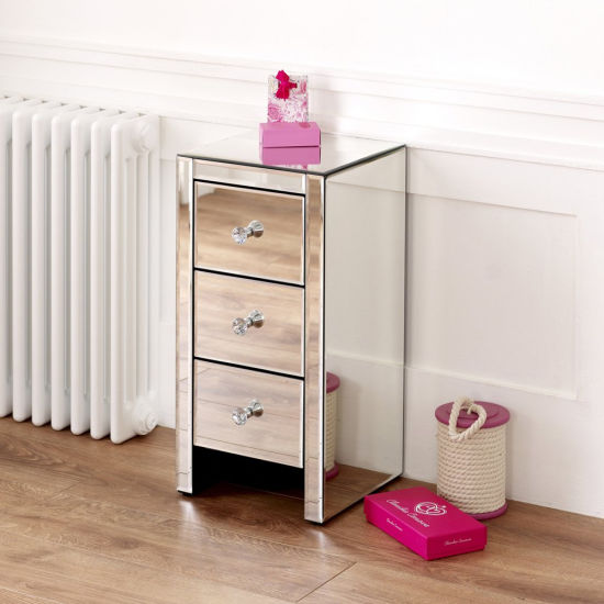 Venetian Mirrored 3 Drawer Slim Narrow Nightstand