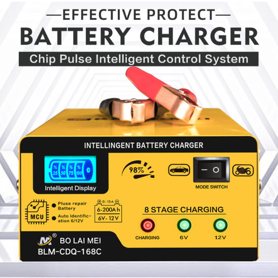 Portable Automatic Intelligent Charging Mode 6 V/12 V 15 a Car Battery Charger