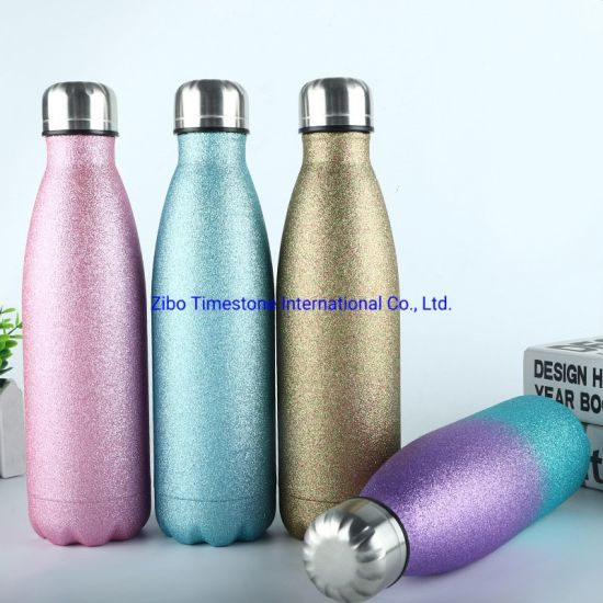 Printed Water Bottle Vacuum Insulated Flask Thermal Stainless Steel Sport Drinks