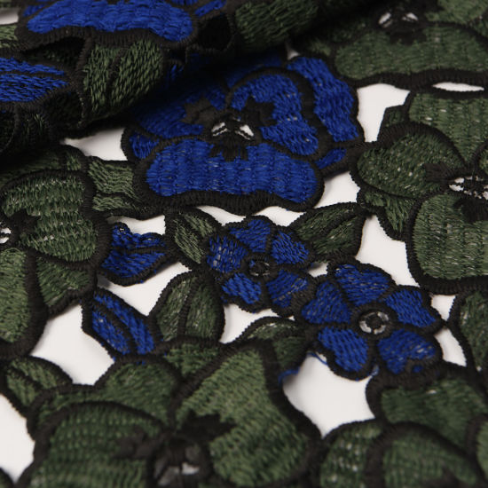 Dyed Embroidery Water Soluble African Lace Fabric