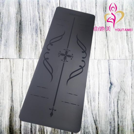 PU Leather Top Alignment System Marker Non Slip Eco Friendly Rubber Yoga Mat