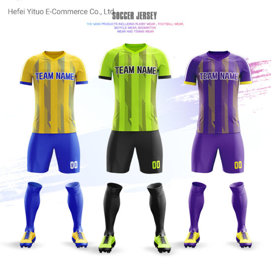 Fully Sublimated Printed Custom Fashion Style Polyester Mesh Soccer Jerseys