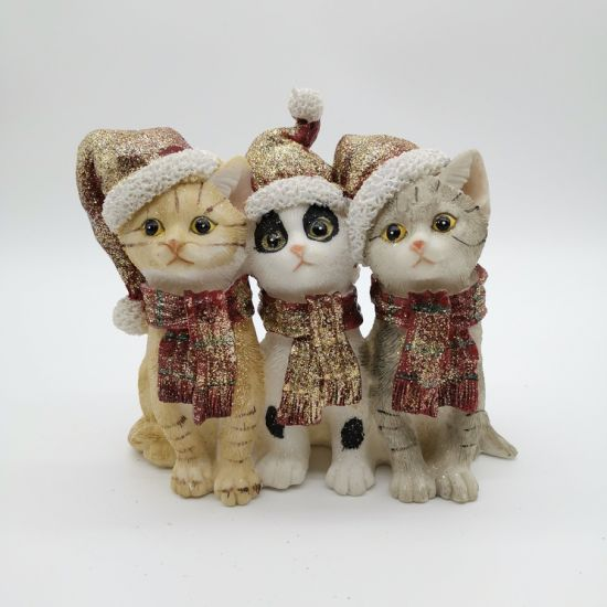 Resin Animal Christmas Cats Indoor Ornaments