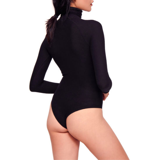 Long Raglan Sleeve Textured Knit Ladies Stylish Turtleneck Bodysuit