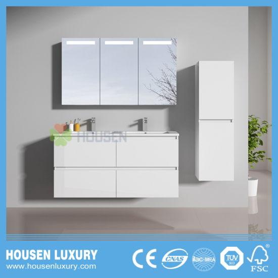 Deluxe Modern Bathroom Vanities with Wide Mirror Cabinet and Double Basins