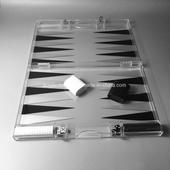 Modern Custom Handmade Acrylic Lucite Backgammon Boards Game Set