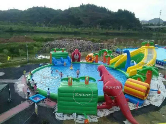 Giant Inflatable Water Slide Jumping Castle with Pool Water Park for Sale