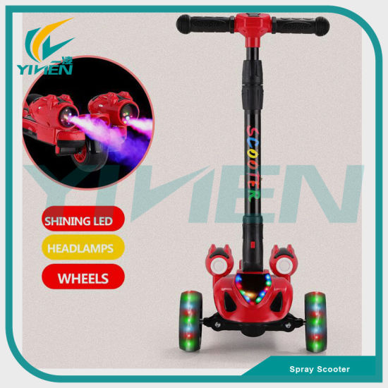 New Style Popular Kids Kick Scooter Wholesale LED Wheel Kids Foot Spray Scooter with Music