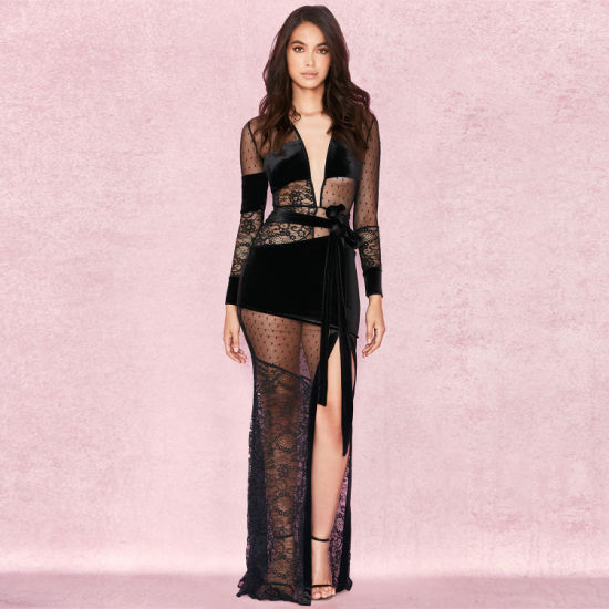 Black Lace V-Necked Sexy Transparent Maxi Dress with Party Club Dress pictures & photos