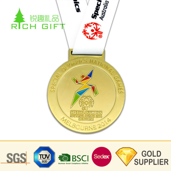 Golden Supplier China Custom Metal Embossed 3D Logo Without Color Round Shaped Gold Plated Medal