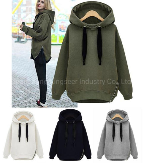 Fashion Sweatshirts Women Clothes Zipper Cotton/Polyester/Fleece Custom Wholesale Plain Hoodies