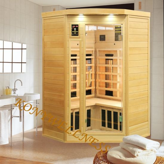 2 Person Far Infrared Corner Sauna Suitable for Family Indoor Use for Body Beauty Equipment Made of Hemlock Wood